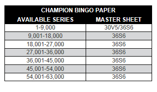 Champion Collated Bingo Paper Series
