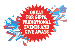Great for gifts and promotional giveaways!